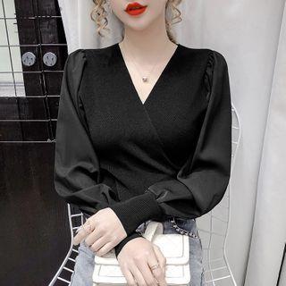 Long-sleeve Paneled Knit Top
