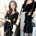 Zip Front Long-Sleeve Bodycon Dress 1596