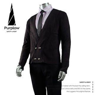 Buy Purplow Double Buttoned Cardigan + Short Point Collar Shirt + Neck Tie 1004802240