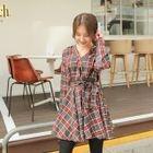Tie-Waist Plaid A-Line Mini Dress 1596