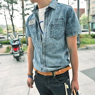 Picture of YOON-GOON Washed Short-Sleeve Denim Shirt 1023047657 (YOON-GOON, Mens Shirts, Korea)