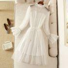 Sequined Mesh Long-Sleeve A-Line Dress 1596