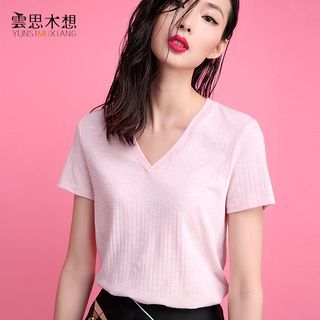 Ribbed V-Neck T-Shirt 1049773590