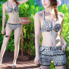 Set: Print Bikini + Cover-Up Top + Shorts 1596