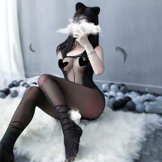 Costume | Black | Girl | Size | Cat | One | Set