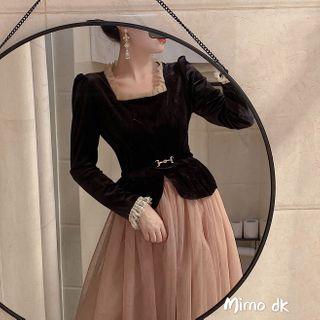 Image of Contrast Trim Blouse / Midi Mesh Skirt