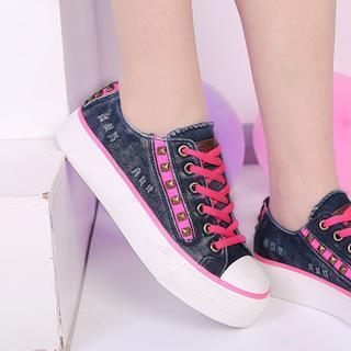 Studded Contrast-Trim Denim Platform Sneakers
