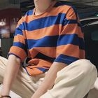 Striped Elbow-Sleeve T-Shirt 1596