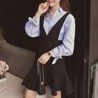 Set: Long-Sleeve Blouse + V-neck Suspender Dress 1596