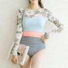 Floral Print Stripe Paneled Long-Sleeve Swimsuit 1596