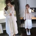 Set: Long-Sleeve Lace Midi Dress + Sweater / Knit Vest 1596