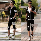 Set: Stripe Zip Jacket + Pedal Sweatpants 1596