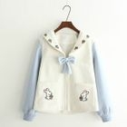Embroidered Bow Detail Fleece Jacket 1596