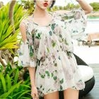 Set: Flower Print Bikini Top + Swim Shorts + Cover-Up 1596