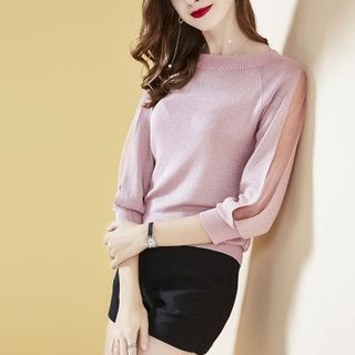 Image of 3/4-Sleeve Mesh-Panel Knit Top