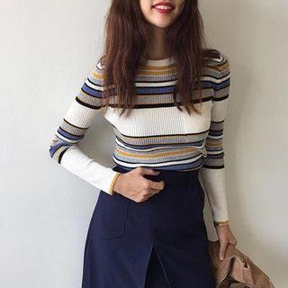 Long-Sleeve Striped Rib Knit Top 1054804994