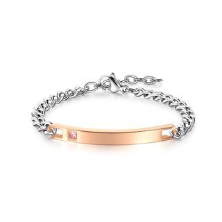 Simple And Fashion Rose Gold Geometric Rectangular 316l Stainless Steel Bangle With Pink Cubic Zirconia Silver - One Size