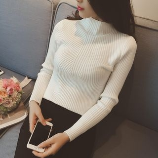 Mock-neck Ribbed Long-Sleeve Knit Sweater 1061804718