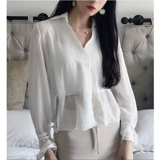 Tie-Waist Bell Long-Sleeve Blouse 1060028748