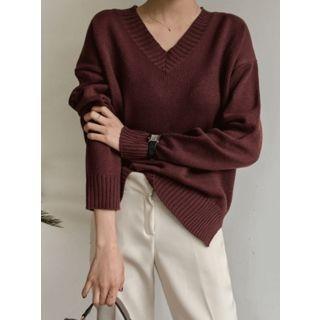 Ribbed V-Neck Sweater 1062976057