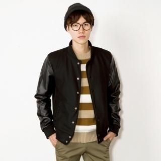 Faux Leather-Sleeved Varsity Jacket