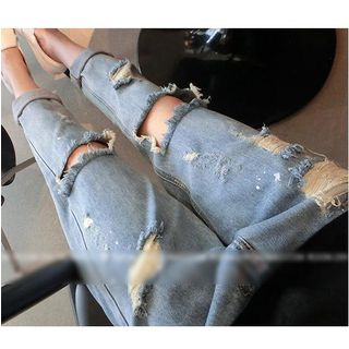 Image of Distressed Ribbed Jeans