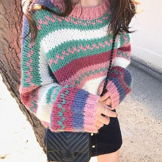 Image of Patterned Cable Knit Sweater As Shown In Figure - One Size