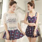 Set: Crochet Top / Printed Bikini Top + Swim Skirt 1596