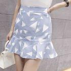 Printed Ruffle Hem Mini Skirt 1596
