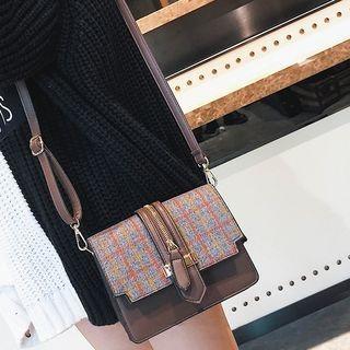 Zip Detail Check Crossbody Bag