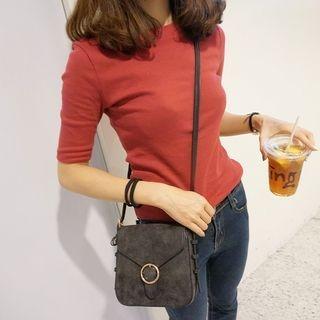 Plain Elbow-Sleeve T-Shirt 1061660834