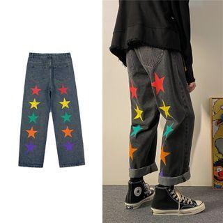 Star Print Wide Leg Jeans