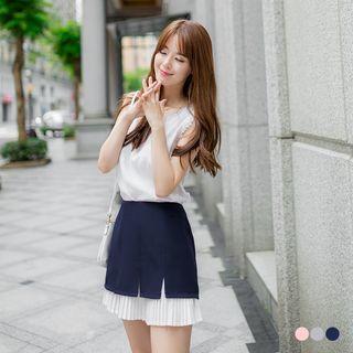Chiffon-Panel Pleated Skirt