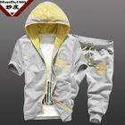 Set: Short-Sleeve Printed Hooded Jacket + Drawstring Cropped Sweatpants 1596