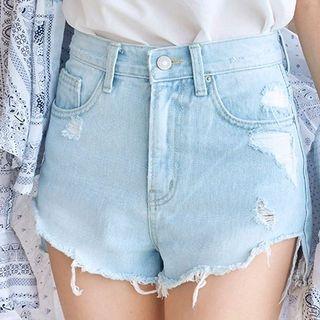 Cutout Distressed Washed Denim Shorts 1061061930