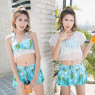 Set: Lace Top + Printed Tankini 1060349031