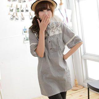 Picture of MYHEART Lace-Yoke Patterned Tunic 1023058580 (MYHEART Dresses, Womens Dresses, Taiwan Dresses, Tunics)