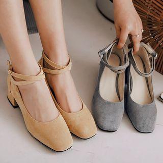 Image of Plain Velvet Ankle Strap Block Heel Pumps