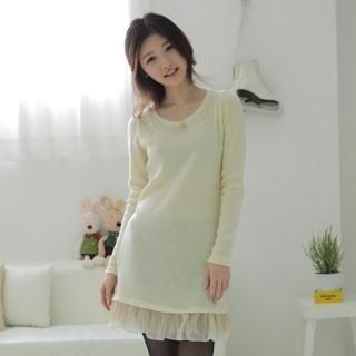 Buy CLICK Frilled Chiffon Hem Beaded Knit Dress 1022170703