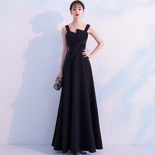 Image of Asymmetric Neckline Sleeveless A-Line Evening Gown