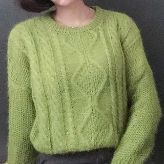 Ribbed Cable Knit Sweater 1053689696