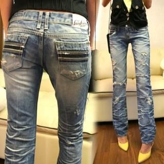 Picture of Bluemint Frayed Blue Jeans 1011684998 (Bluemint Apparel, Womens Denim, South Korea Apparel, South Korea Denim)
