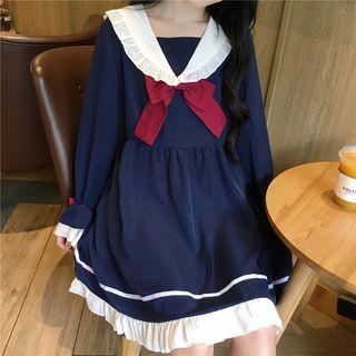 Long-sleeve | Babydoll | Dress | Blue | Size | One