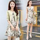 Set: Floral A-Line Dress + Cropped Jacket 1596