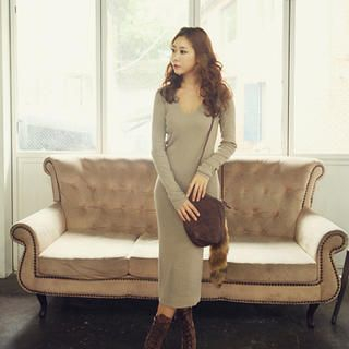 Wool Blend V-Neck Knit Dress