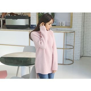 Turtle-Neck Ribbed Long Sweater 1056622795