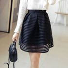 Pleated Mesh Mini Skirt 1596