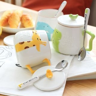 Set: Cartoon Cup + Lid + Spoon 1065187975