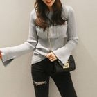 Slit Long-Sleeve Ribbed T-Shirt 1596