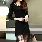 Long-Sleeve Cutout Fringe-Hem Dress 1596